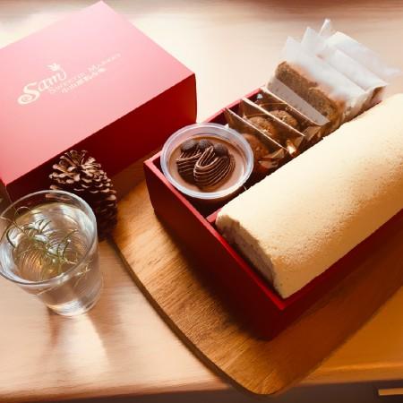 【小山甜點市集】任選口味瑞士捲一條加1杯奶酪加3片餅乾加3片熟成蛋糕彌月禮盒