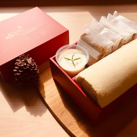 【小山甜點市集】任選口味瑞士捲一條加1杯奶酪加5片熟成蛋糕彌月禮盒
