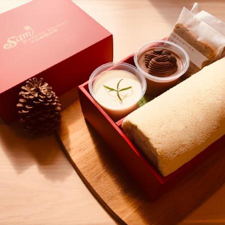 【小山甜點市集】任選口味瑞士捲一條加2杯奶酪加2片熟成蛋糕彌月禮盒