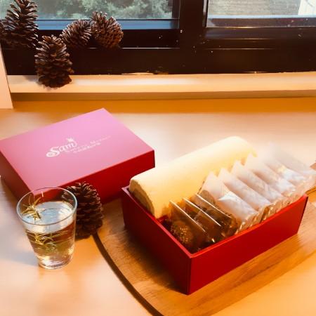 【小山甜點市集】任選口味瑞士捲一條加6片熟成蛋糕加3片手工餅乾彌月禮盒